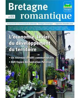 Coiuverture du magazine de la Communauté de Bretagne romantique : un fleuriste symbolise le monde de l'économie